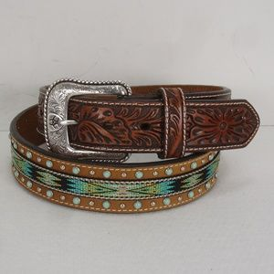 NEW ARIAT BROWN TOOLED LEATHER STUDS BELT 38